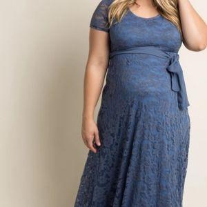 Blue lace sash tie plus maternity dress